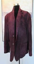 $5K BRIONI Italy Wilkes Bashford Plum Suede Leather 2Btn Smoking Coat /Jacket 45