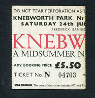 1978 Knebworth concert ticket stub Devo Genesis Tom Petty Roy Harper Starship