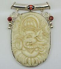 ANTIQUE GANESHA Carved Bone Elephant GOD pendant (55x23) 925 Sterling Silver