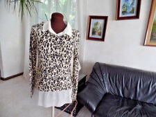 DKNYC BEAUTIFUL ANIMAL PRINT SWEATER WITH ATTACHED BLOUSE SZ S NWT