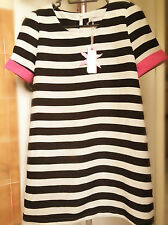 Lady Women Short Sleeves Black Striped White Tunic Mini Party short Dress
