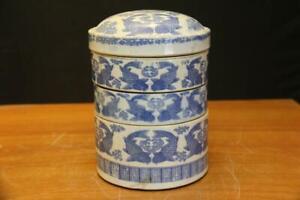 Antique Japanese Blue & White porcelain stackable box Porcelain Stackable box.
