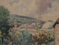 Harry Riley RI, Town, Austria – Original mid-20th-century watercolour painting