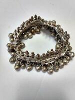 """Vintage Indian Silver Tone Anklet/Bracelet - Tribal Gypsy Belly Dancer - 8"""""""