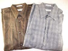 LOT 2 Jhane Barnes Men's Long Sleeve Button Shirt Size L Cotton/Rayon Gray/brown