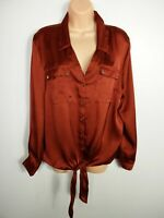 BNWT WOMENS LIPSY UK 18 METALLIC BROWN BUTTON UP UTILITY TIE FRONT SHORT BLOUSE