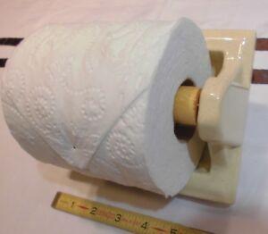 """Vintage...Oatmeal...1"""" Recessed Ceramic Toilet Paper Holder """"NOS""""  Wood Roller"""