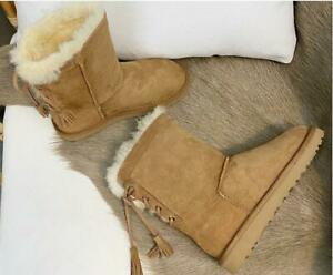 Women Suede Wool Lined Snow Boots Round Toe Winter Shoes Flats Non-Slip Mid-Calf
