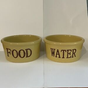"""Pet Rageous Handcrafted Stoneware 6"""" Dog Bowls Food Water Brown/Yellow"""