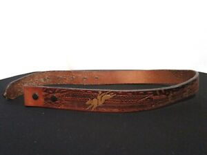 "Nocona Brown Rodeo Scene Tooled Leather Boys Kid Replacement Belt Sz 22, 20""-24"""