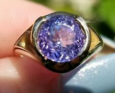 Beautiful Non Heated Lavender Purple Tanzanite Solitaire 14k yellow gold ring
