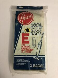 Genuine Hoover Type E Vacuum Bags(3) Fits Cassette, Quick Broom New Sealed