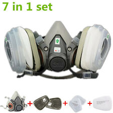 7 in 1 Half Face Mask For 3M 6200 Gas Dust Spray Painting Protection Respirator