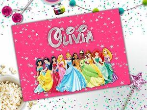 Personalised Disney Princesses A4 Laminated Kids Placemat Name Princess Pink
