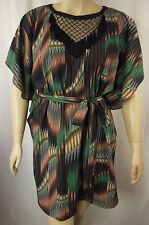 City Chic Elbow Sleeve Sheer Tribal Tunic Kaftan Plus Size XS 14 BNWOT CC750