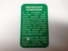 ROLEX information card