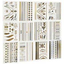 12 Sheets Temporary Disposable Metallic Gold Silver Black Tattoo Flash Tattoos
