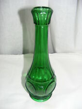 "Vintage Wheaton Green Glass 9"" Bud Vase Bullseye Pattern"