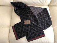 Gucci Double G Logo Guccisima Scarf Black Grey NEW