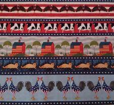 "1 yd 25"" Folk Art Stripe Warren Kimble QT House Cow Flag Cat Barn Eagle Rooster"