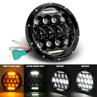 "E-mark 85W LED Headlight Black 7"" Inch /w Turn Light for Motorbike Cafe Racer"