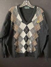 LYLE & SCOTT Mens Lambswool V-Neck Sweater Argyle Diamond Brown 2XL