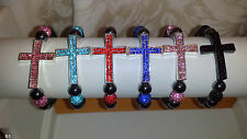 Joblot 30pcs Shamballa Diamante Crucifix cross Bracelets - NEW Wholesale lot B1