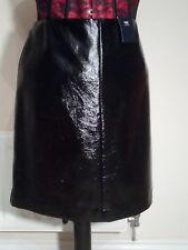 "M&S GLOSSY BLACK Faux Leather PU 20"" MINI SKIRT uk14eu40us10 Waist w32ins w81cms"