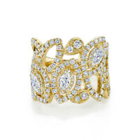 14K Yellow Gold 1.86 CT Natural Marquise Cut Diamond Open Lace Cocktail Ring