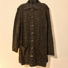 WHITE STAG WOMEN'S PLUS SZ 22/24 3X BROWN FLECK KNIT SWEATER JACKET WOOD TOGGLE