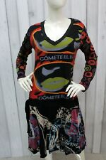 DESIGUAL Vestito Donna Taglia XL Multicolor Cotone Abito Dress Tubino Robe Kleid
