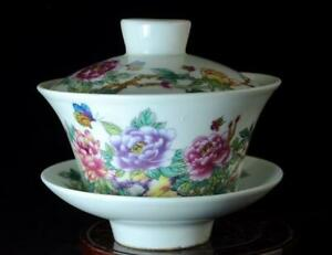 Chinese old hand-made Pastel porcelain Hand Painted Peony flower cup