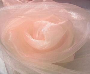 A34 (Sell Per Yard)Peach Pink Crystal Mirror Organza Sheer Drapping Dress Fabric