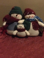 "Snowman13x10"" Fabric Felt Snowmen Family Holiday Winter table shelf decor"