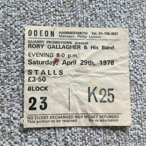 Rory Gallagher ticket Hammersmith Odeon 29/04/78 #K25