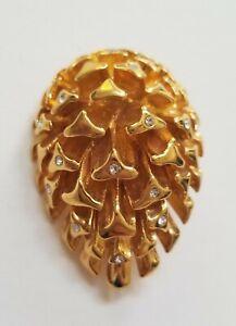 Vintage Brooch Pin Gold Tone Pinecone Rhinestone