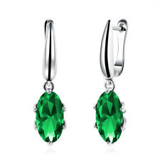 1Ct Emerald Round Created Crystals Halo Stud Earrings 14K White Gold