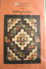 "Falling Leaves Appliqued, 9-Patchw/Curved Piecing Quilt Pattern 78"" x 102"""