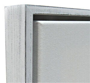 """Weathered White Floater Frame for 1.5"""" deep Canvas"""