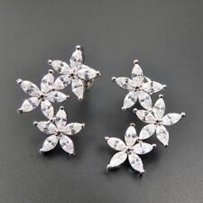 d69b03eee Cute Silver Rhodium Plated CZ Cubic Zirconia Triple Flower Cluster Stud  Earrings