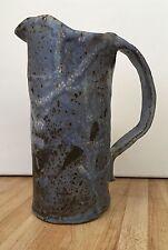 """Vintage Art Pottery Slate Blue Pitcher Unique Decorative 9"""""""