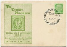 GERMANY 1937 STAMP EXHIBITION POSTAL STATIONERY CARD + SPECIAL CANCEL