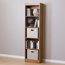 South Shore Axess 5-Shelf Narrow Bookcase- Country Pine New