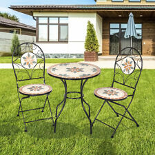 Mosaic Patio Table Folding Chair Furniture Bistro Set Outdoor Garden Backyard