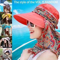 Women Sun Visor Hats Neck Flap Wide Brim Anti-UV Protection Outdoor Summer Cap