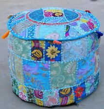 Indian Patchwork Round Pouf Ottoman Cover Foot Stool Moroccan Pouffe Covers 18''