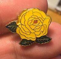 Yellow Rose enamel pin flower floral NOS vintage 80s hat lapel bag brooch new