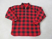 VINTAGE Marlboro Sweater Adult Large Red Black Plaid Reversible Fleece Men 90s