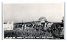 "Postcard Sagamore Bridge over the Cape Cod Canal, MA 1930-50 (5""x3"") RPPC J6"