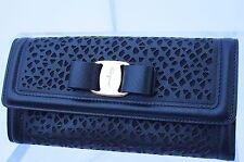 New Salvatore Ferragamo Vara Bow Black Wallet Continental Gancini